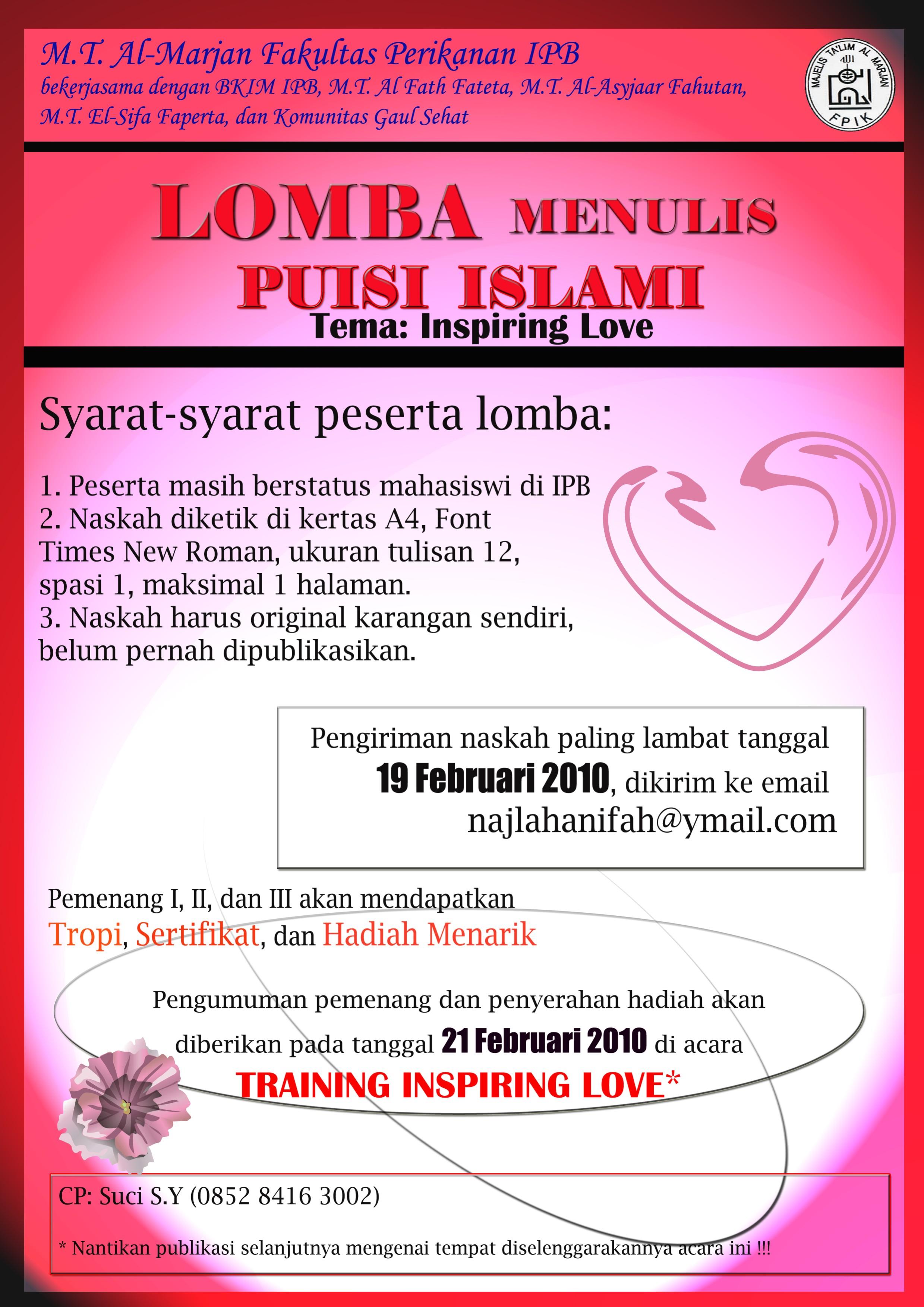 Lomba Menulis Puisi Islami & Training Inspiring Love | MT Al2479